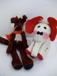 Stuffed Fox and Valentine Elephant Made by Omnidoll Age 11-12. Photo by Omnidoll 2014.